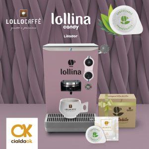 Lollina candy è la macchina perfetta per il tuo Lollo Caffè; dona un tocco di personalità ed allegria a tutti gli ambienti, grazie al design elegante ed ai colori alla moda, e garantisce il miglior caffè, sempre, in poche semplici mosse. Il Set comprende una confezione da 40 cialde compostabili Lollo Caffè, miscela oro espresso.